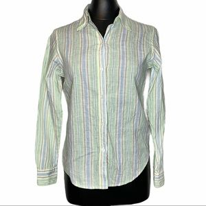 Brooks Brothers Striped Linen Button Up Blouse Top